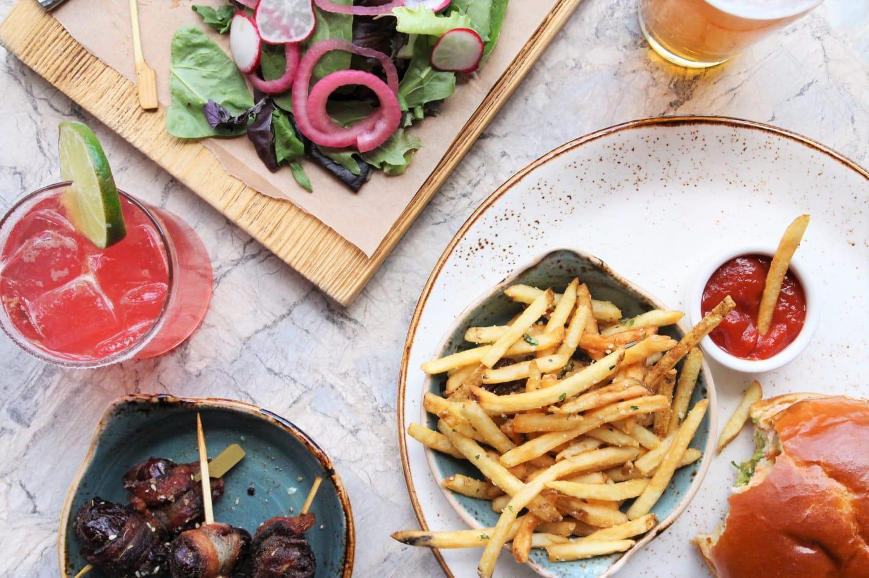 food & drink on marble table