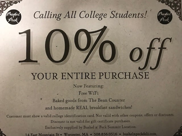 10% off for your entire purchase for college students!