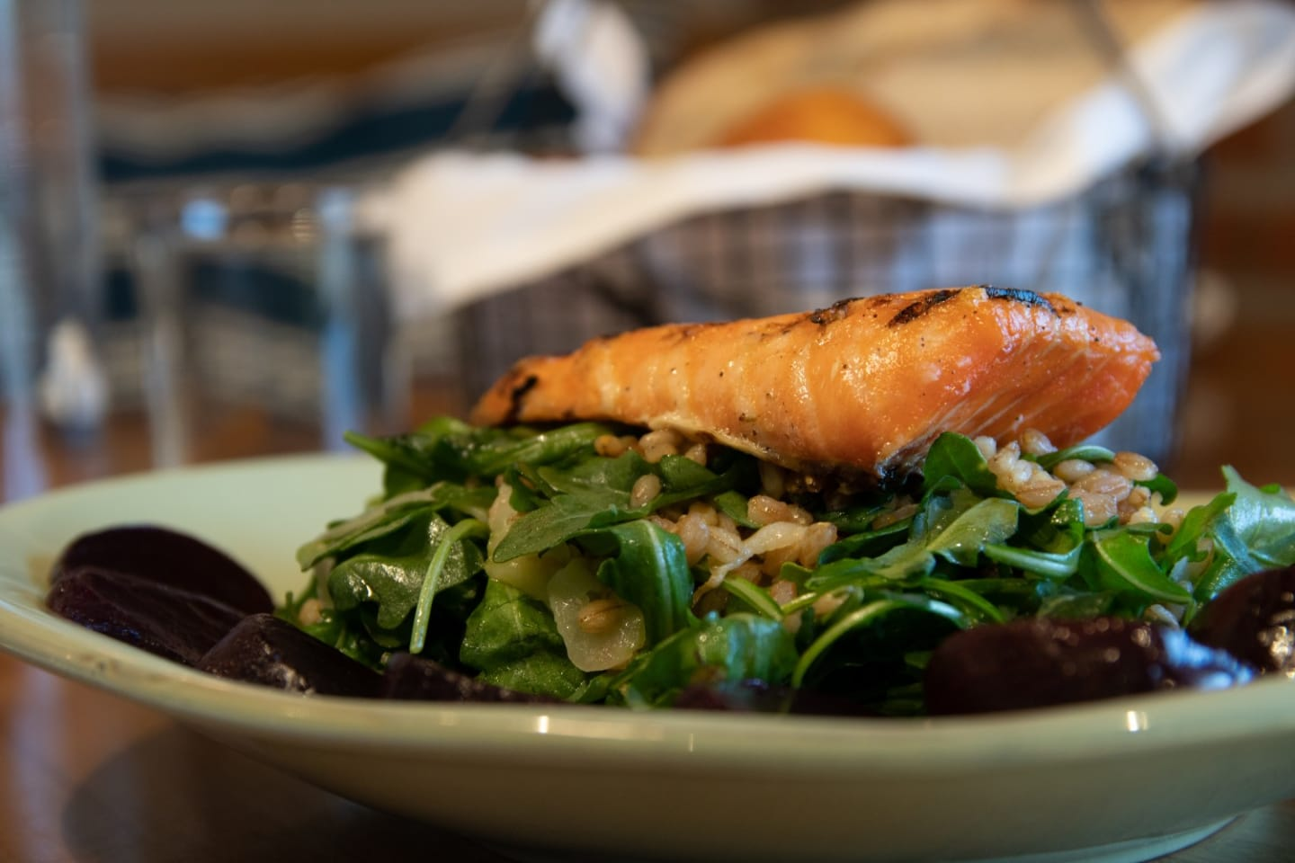 salmon over salad plate