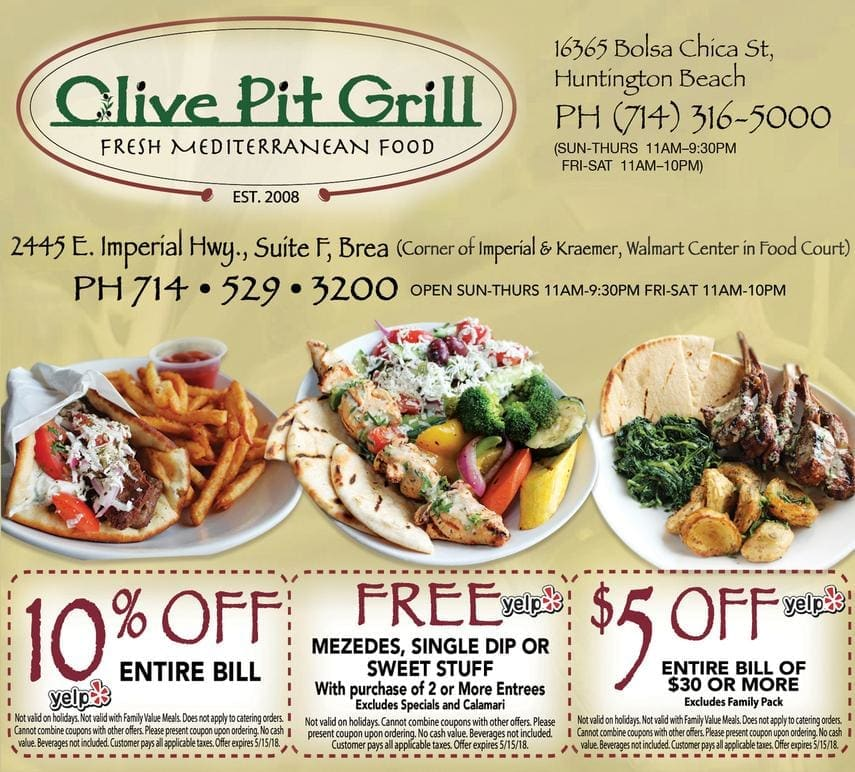 olive pit grill coupon - 10% off entire bill; free mezedes, single dip or sweet stuff with the purchase of two or more entrees - excludes specials and calamari; $5 off entire bill of $30 or more (excludes family pack)