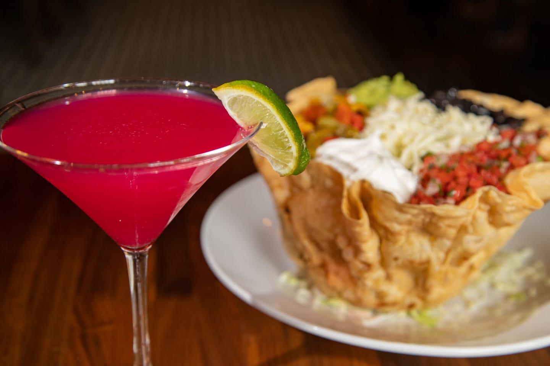 taco salad and martini