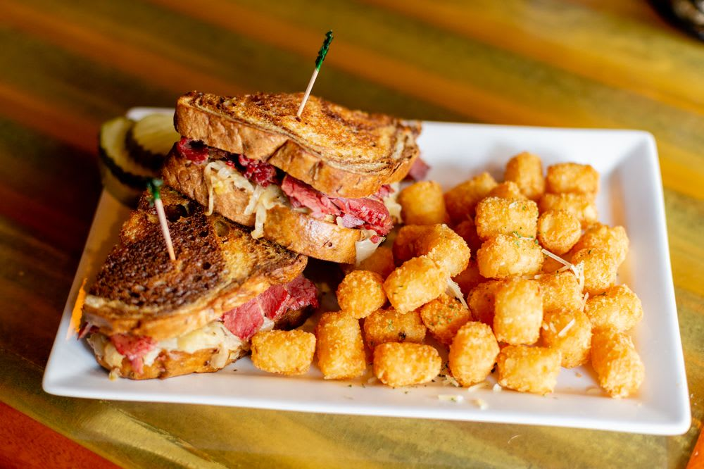 Lunch Rueben and Tator Tots at Ozzie's