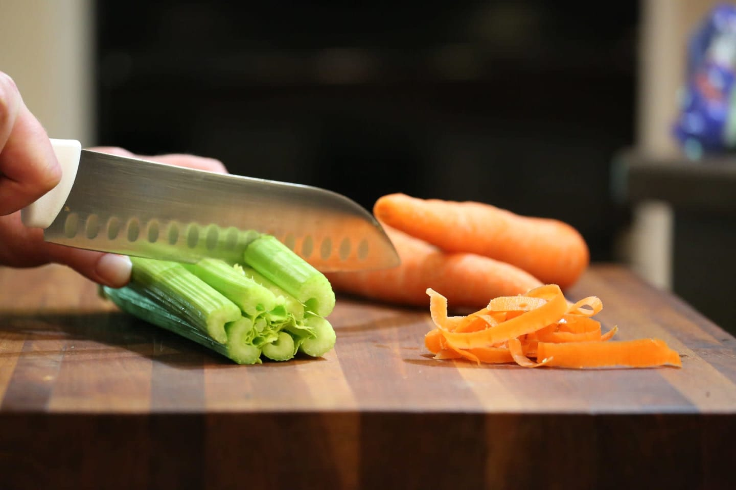 Prepping celery and carrots