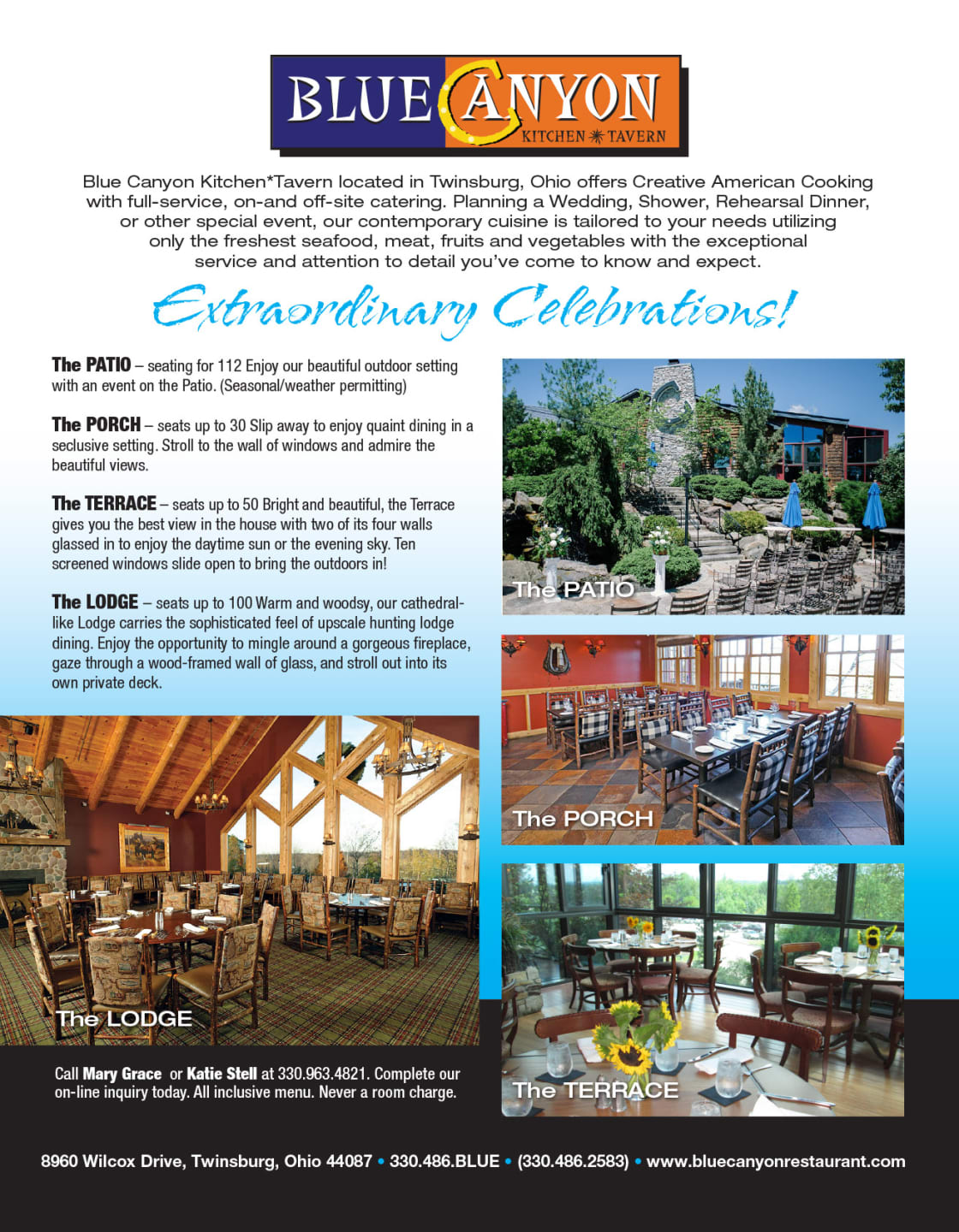 Blue Canyon Extraordinary Celebrations flyer