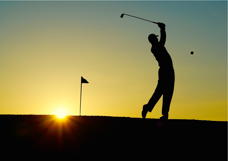sunset golf swing