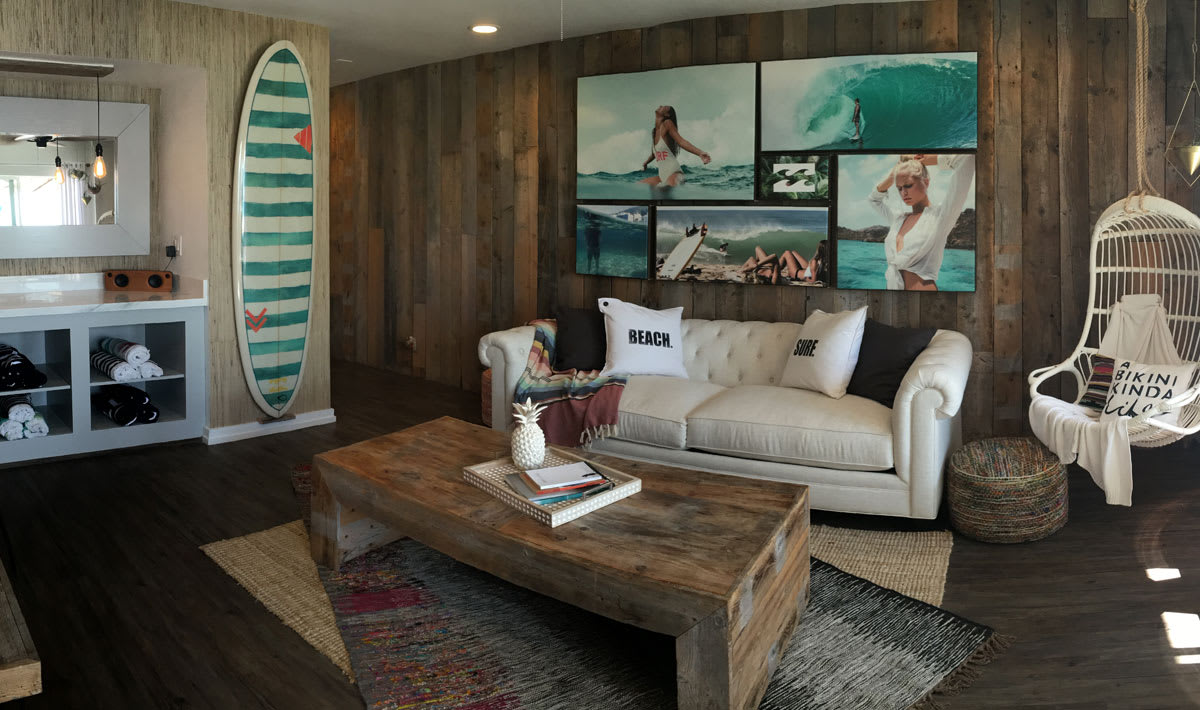 photo of white couch and coffee table in billabong bungalow