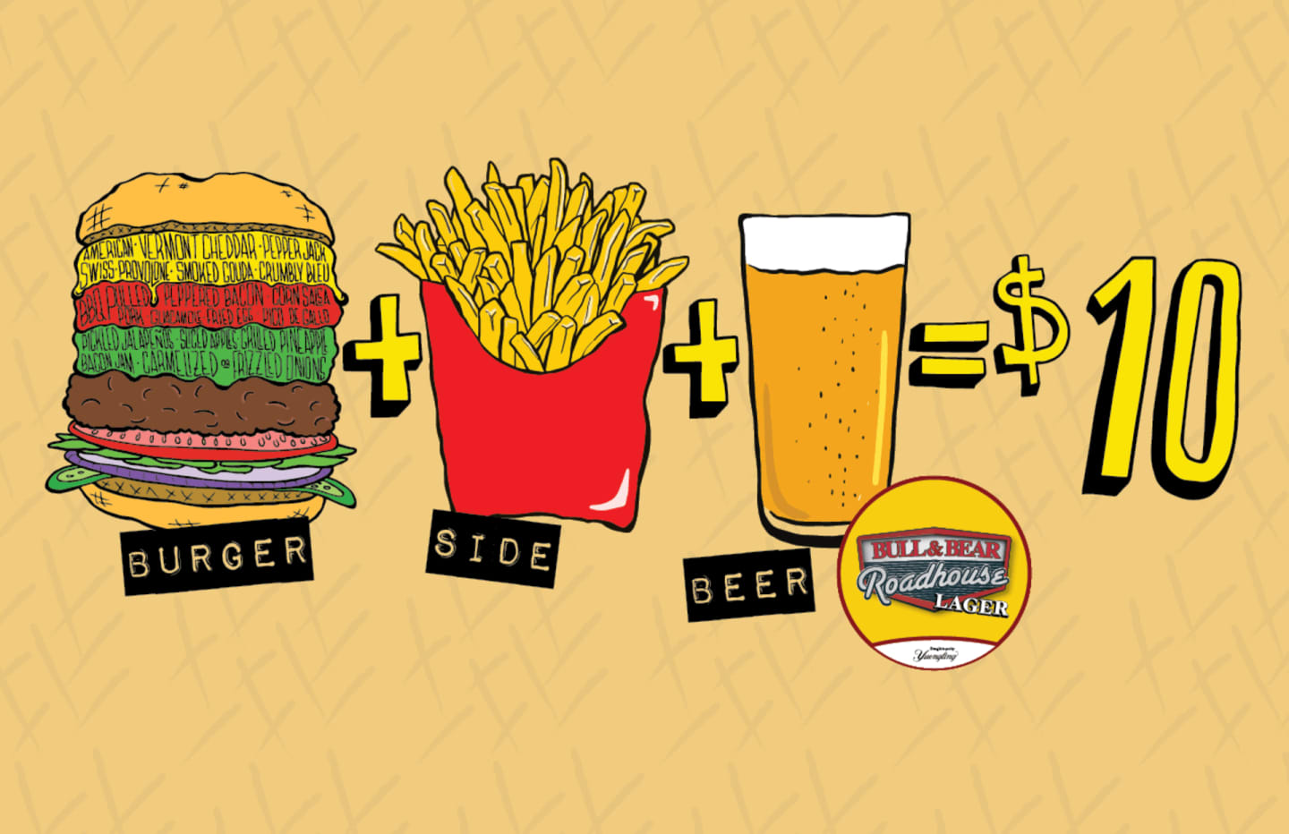 burger + side + beer = $10