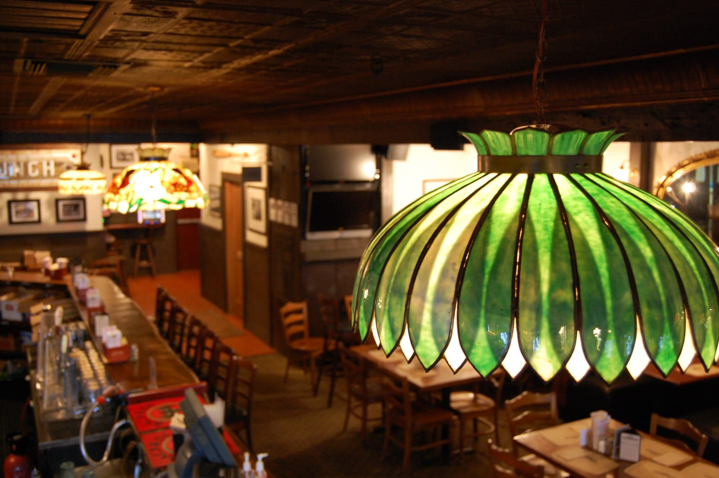 green lamp hanging