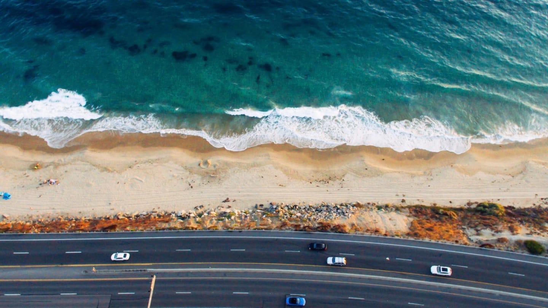 ocean and road