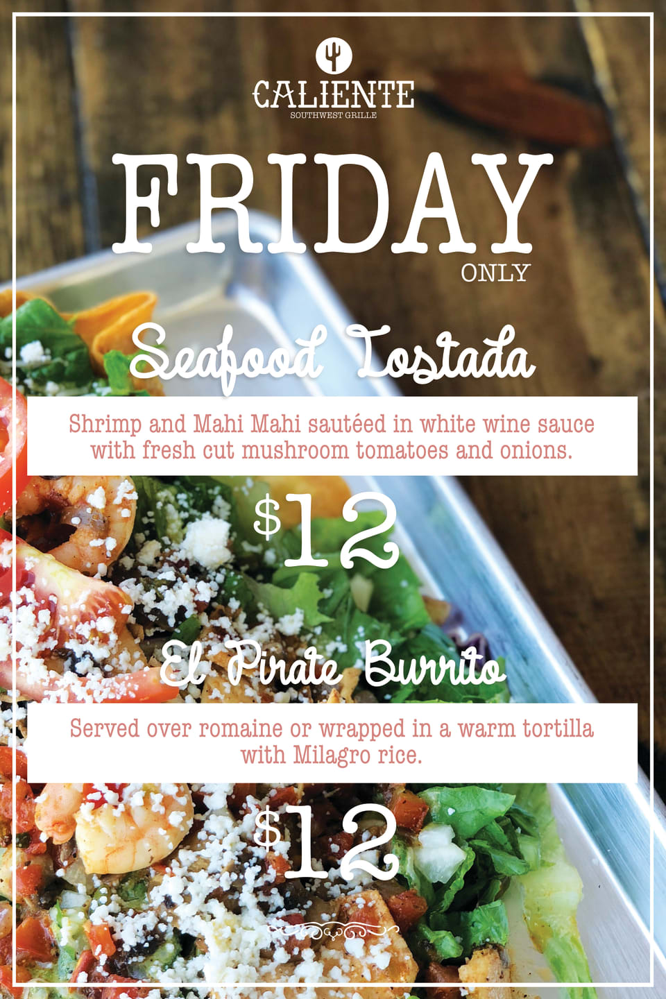 Friday Seafood Tostada and El Pirate Burrito flyer
