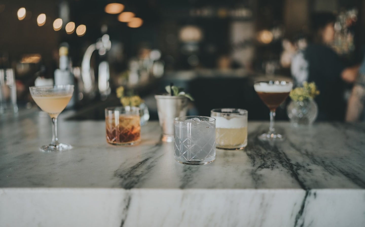cocktails at the bar