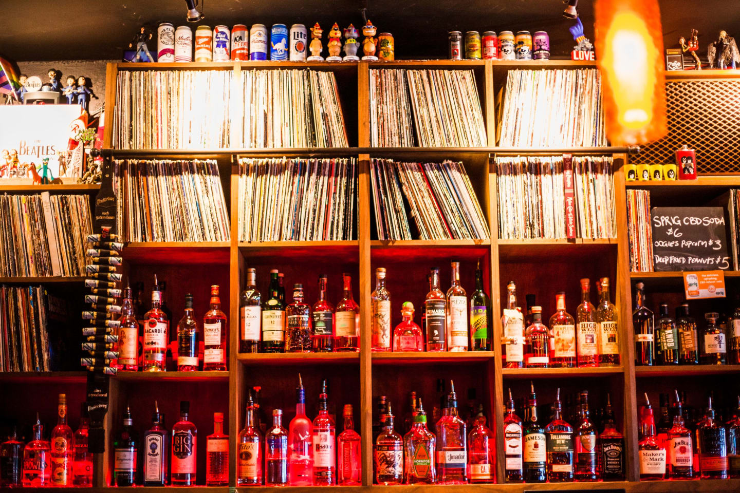 interior bar area with records