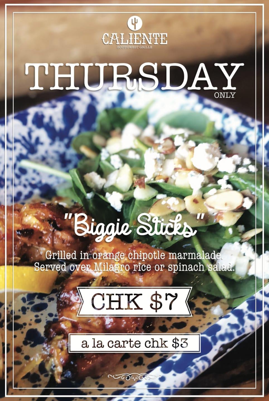 Thursday Biggie Sticks flyer