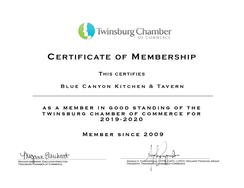 Blue Canyon Twinsburg Certificate of Membership