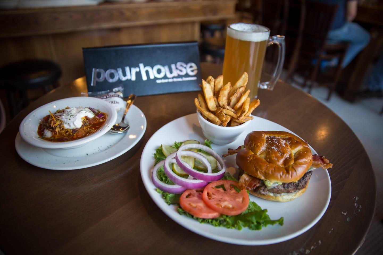 burger, chili, and beer