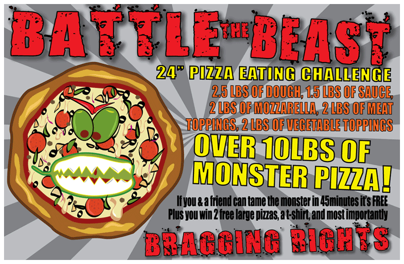 "battle the beast - 24"" pizza eating challenge"