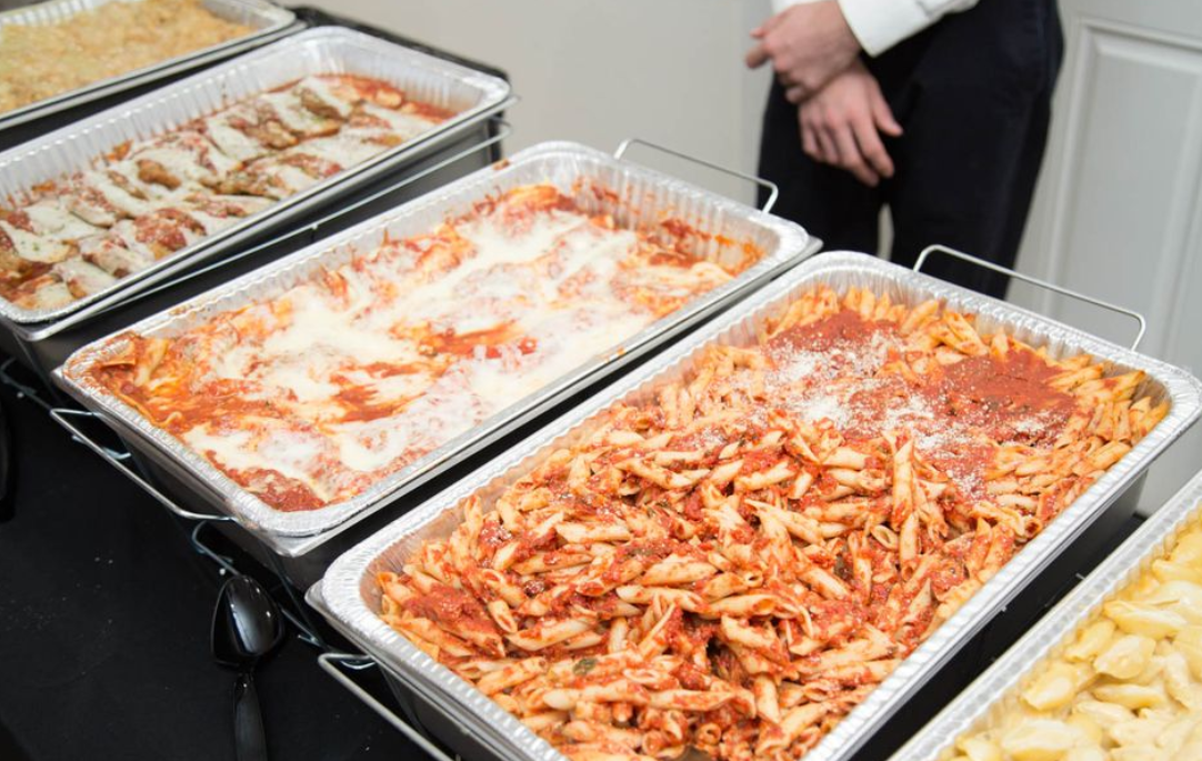 pans of pasta catered