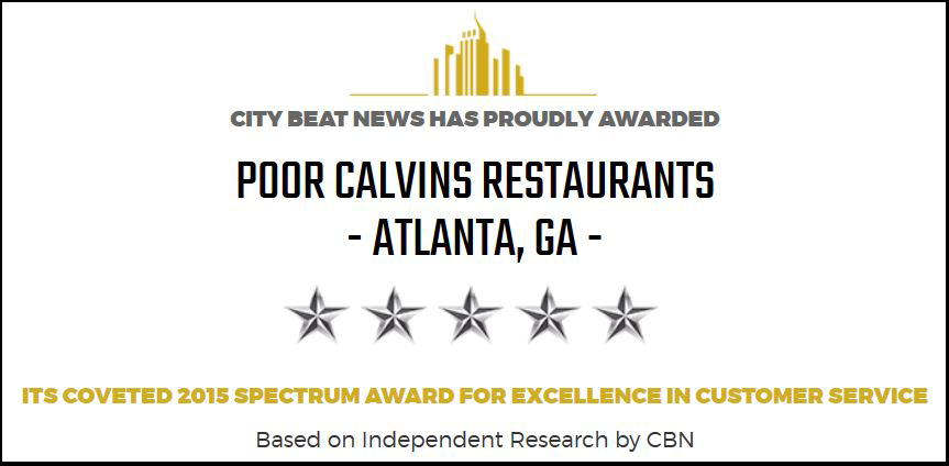 city beat news has proudly awarded poor calvin's restaurants it's coveted 2015 spectrum award for excellence in customer service