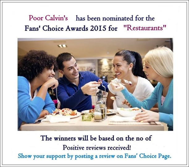 nomiated for fan's choice award 2015 for restaurants
