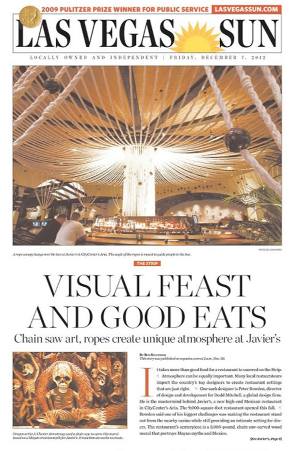 The Las Vegas Sun features Javier's Las Vegas Mexican Restaurant on their front page