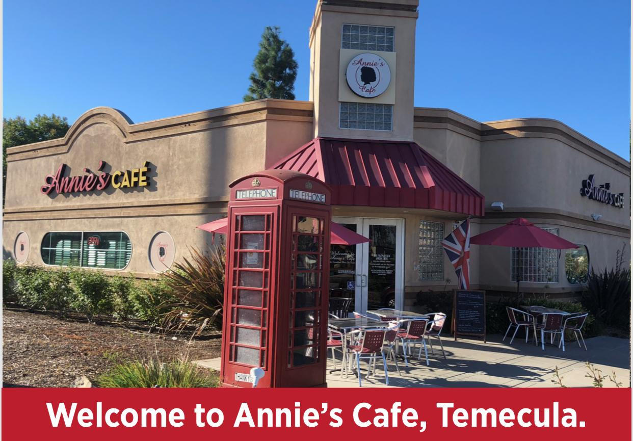 welcome to annie's cafe temecula
