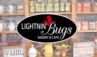 lightnin' bugs bakery and cafe logo