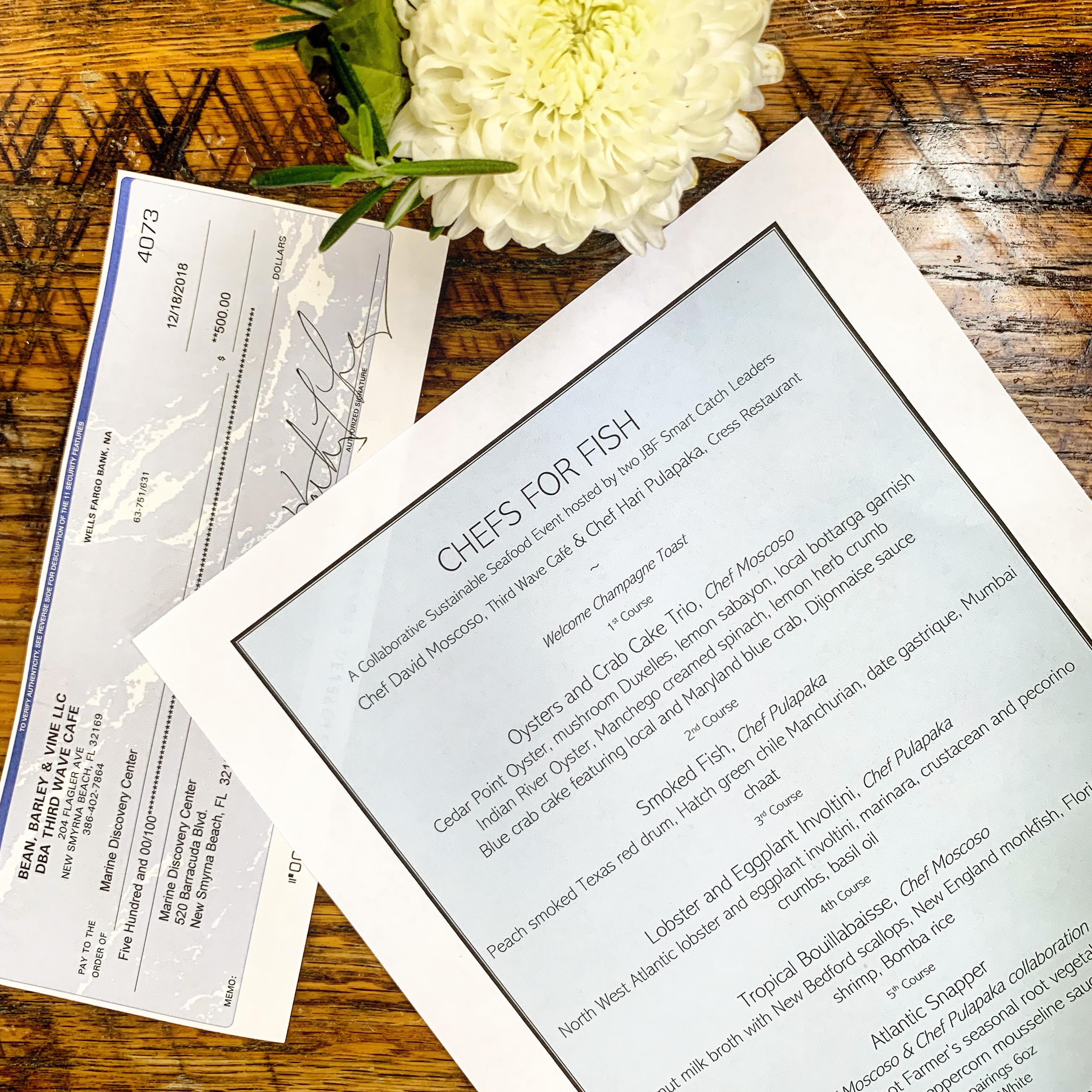 menu and check