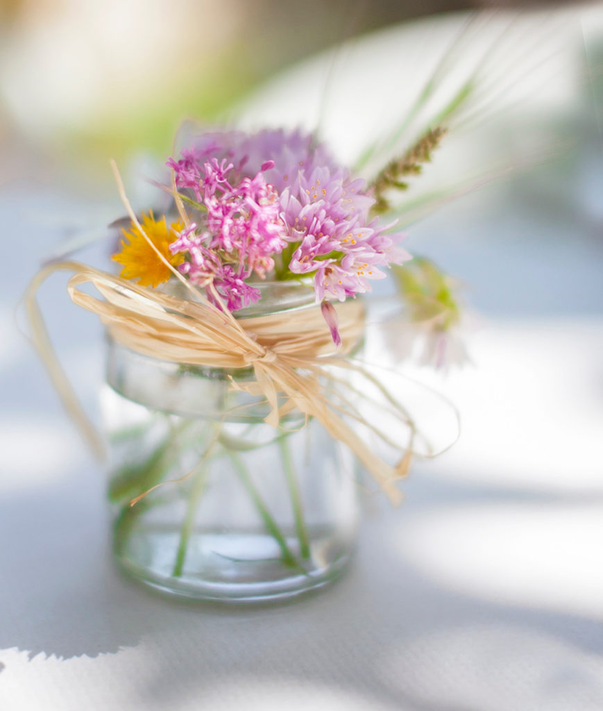 Flowers in small jar