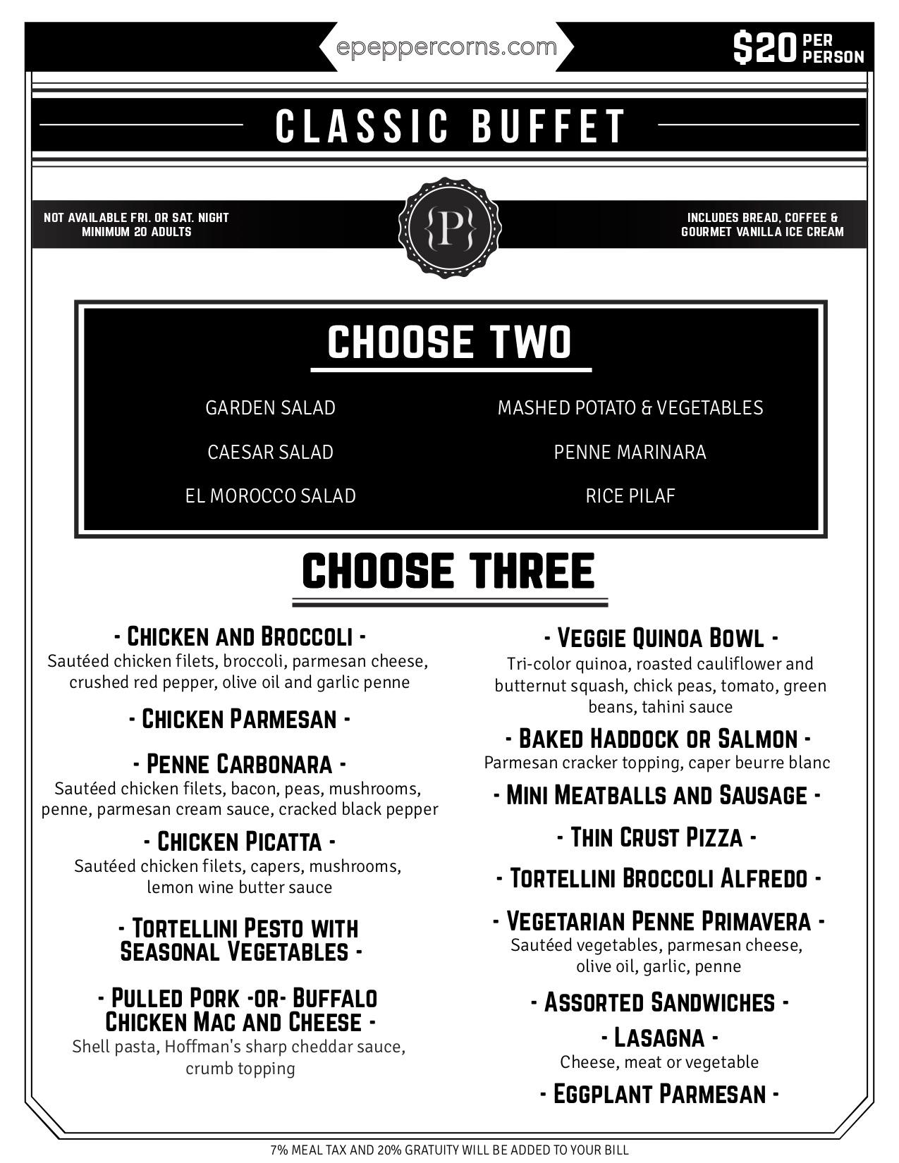 downloadable menu - classic buffet