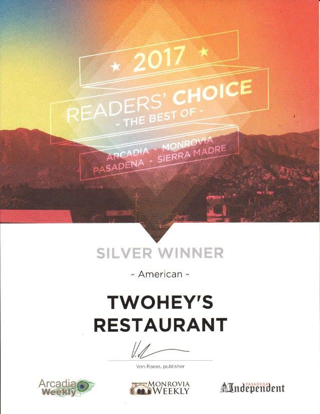 2017 reader's choice best of arcadia, monrovia, pasadena, sierra madre - silver winner - american - twohey's restaurant