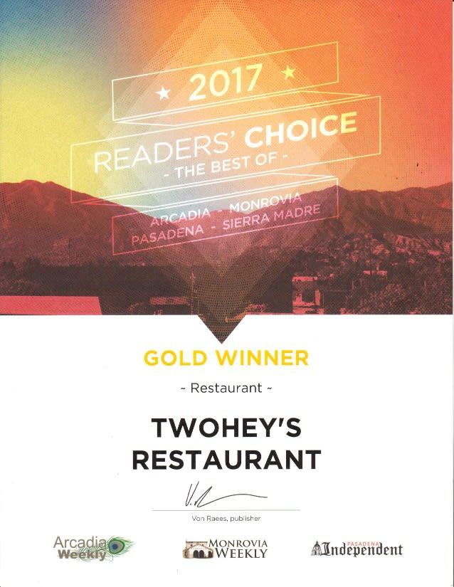 2017 reader's choice best of arcadia, monrovia, pasadena, sierra madre - gold winner - restaurant - twohey's restaurant