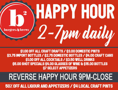 happy hour 2 to 7 pm daily and reverse happy hour 9pm to close