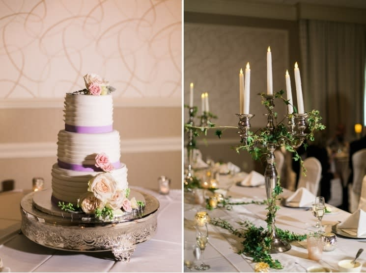 wedding cake and table setting