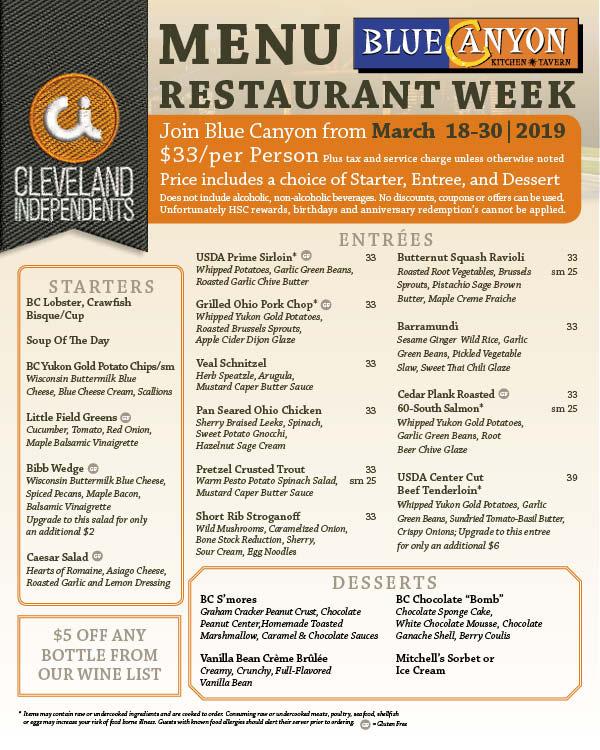 menu for restaurant week