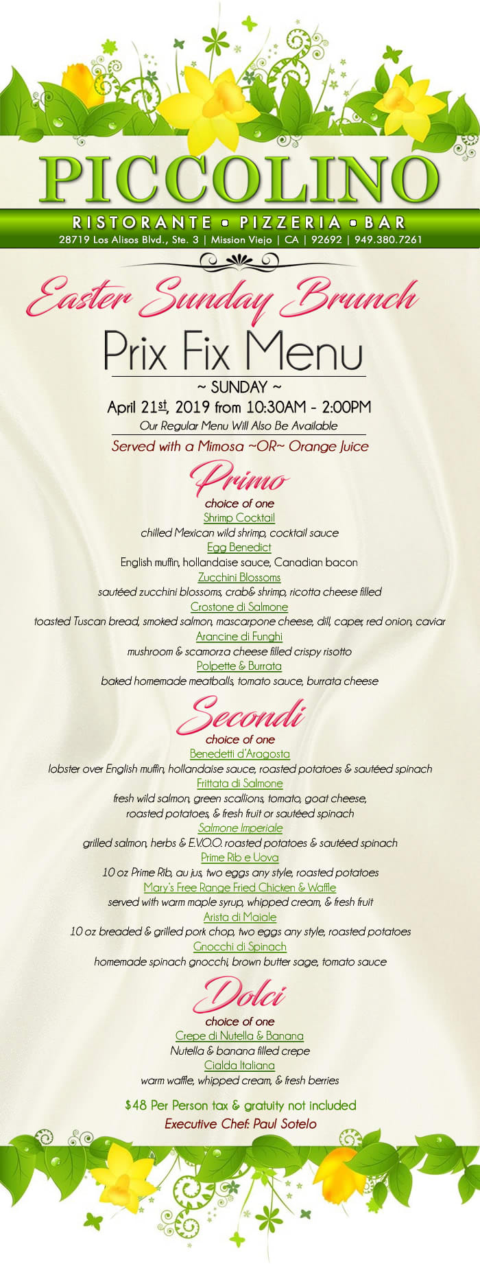 easter sunday brunch menu - for sunday april 21st, 2019
