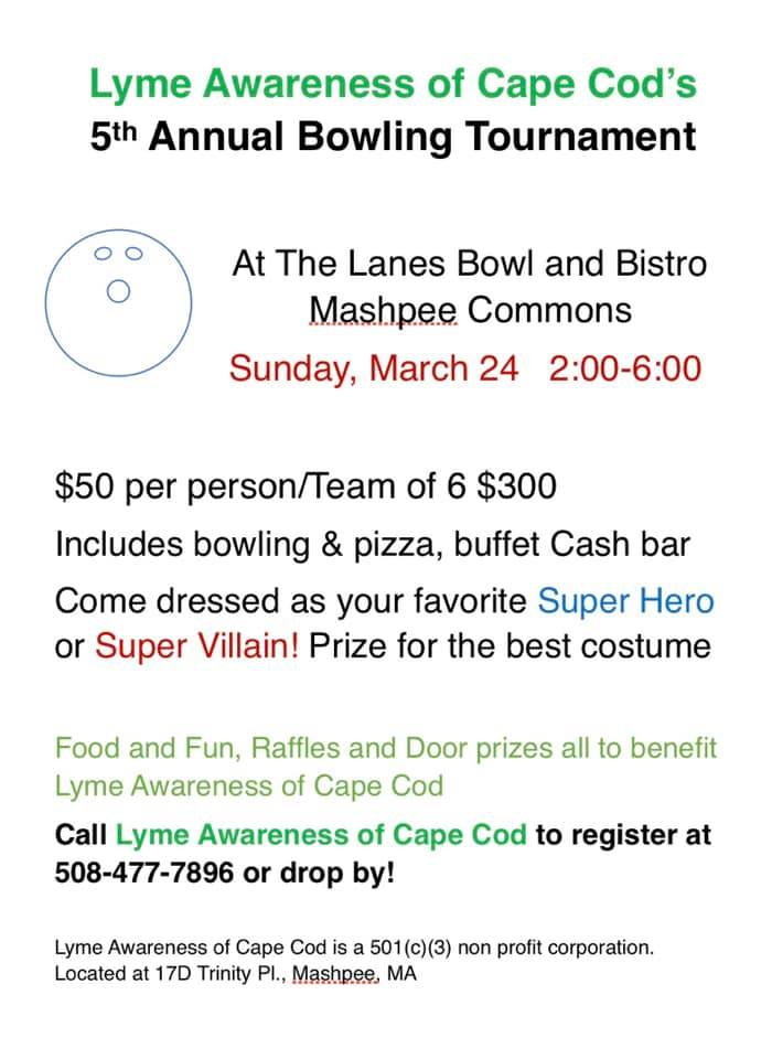 Bowling lanes full Sunday 2-6pm for Lyme Awareness Tournament