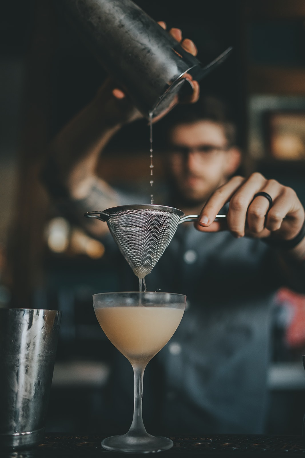 pouring a cocktail