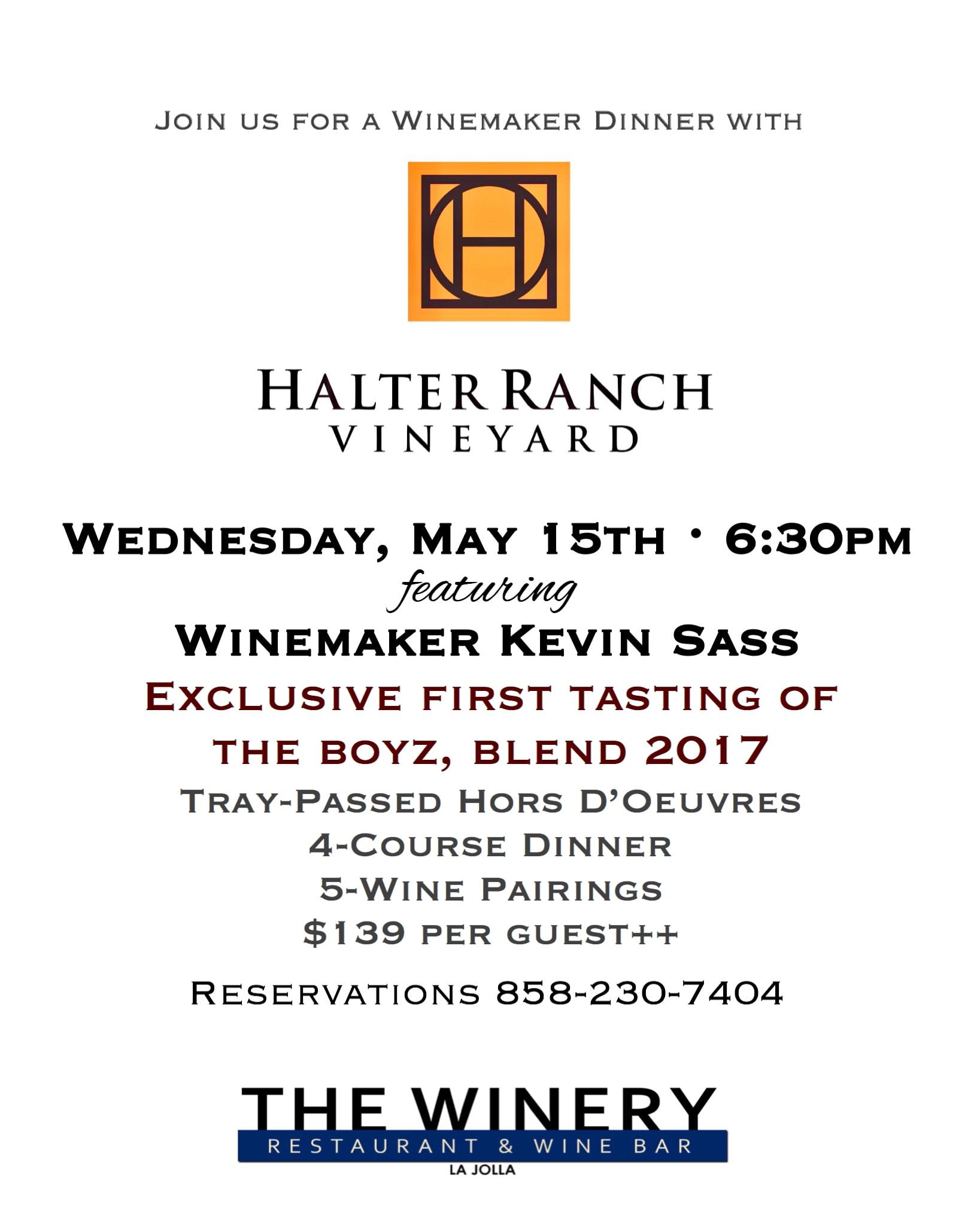 Halter Ranch Vineyard Dinner - Details Below