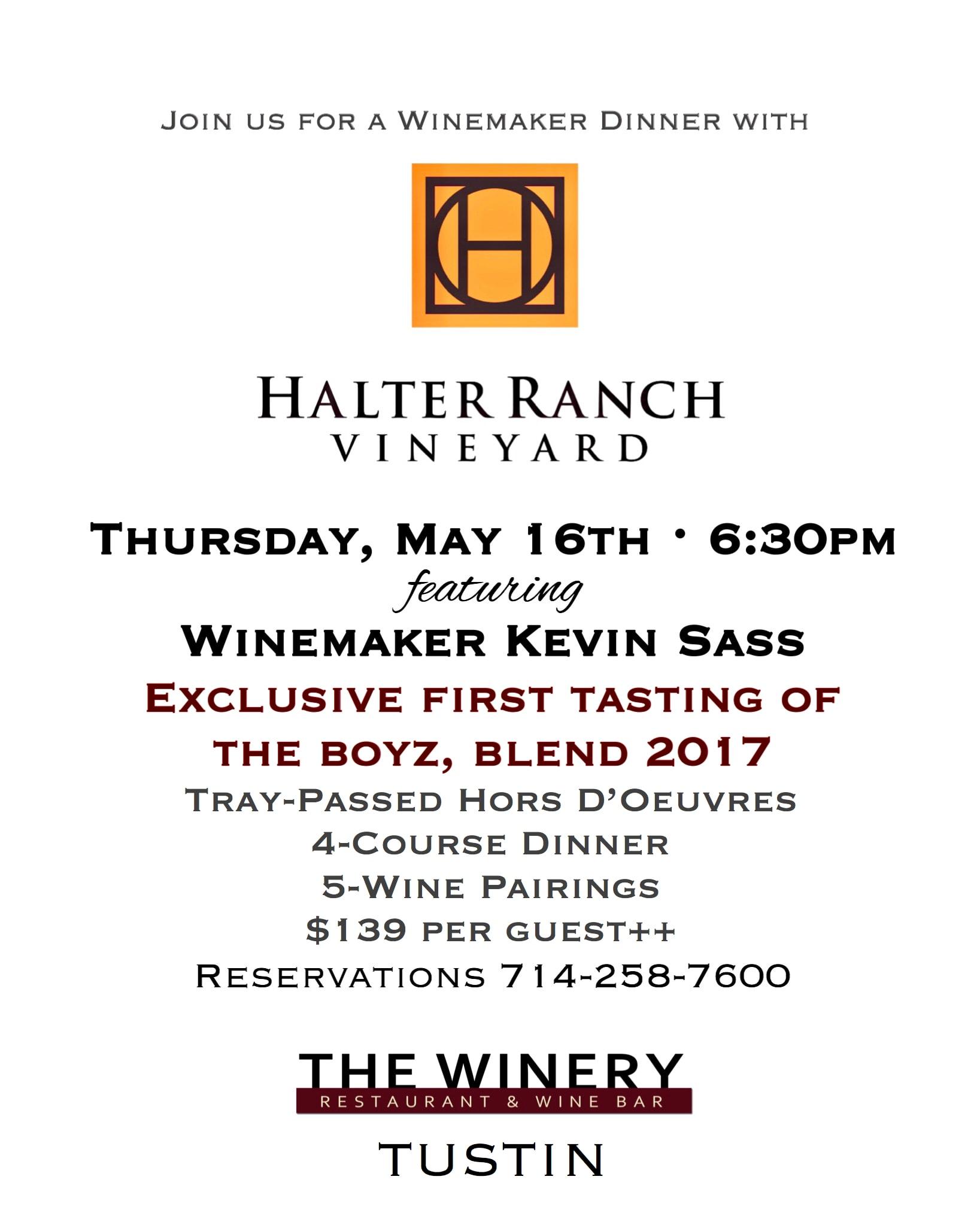 Halter Ranch Wine Dinner - Details Below