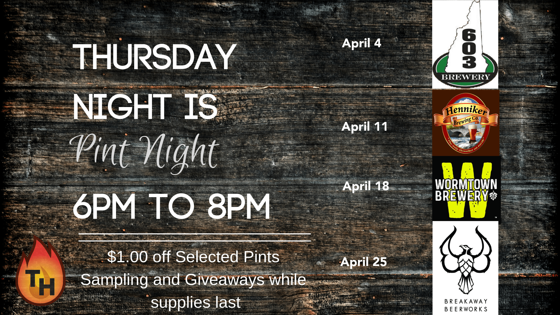 thursday night is pint night from 6 to 8pm