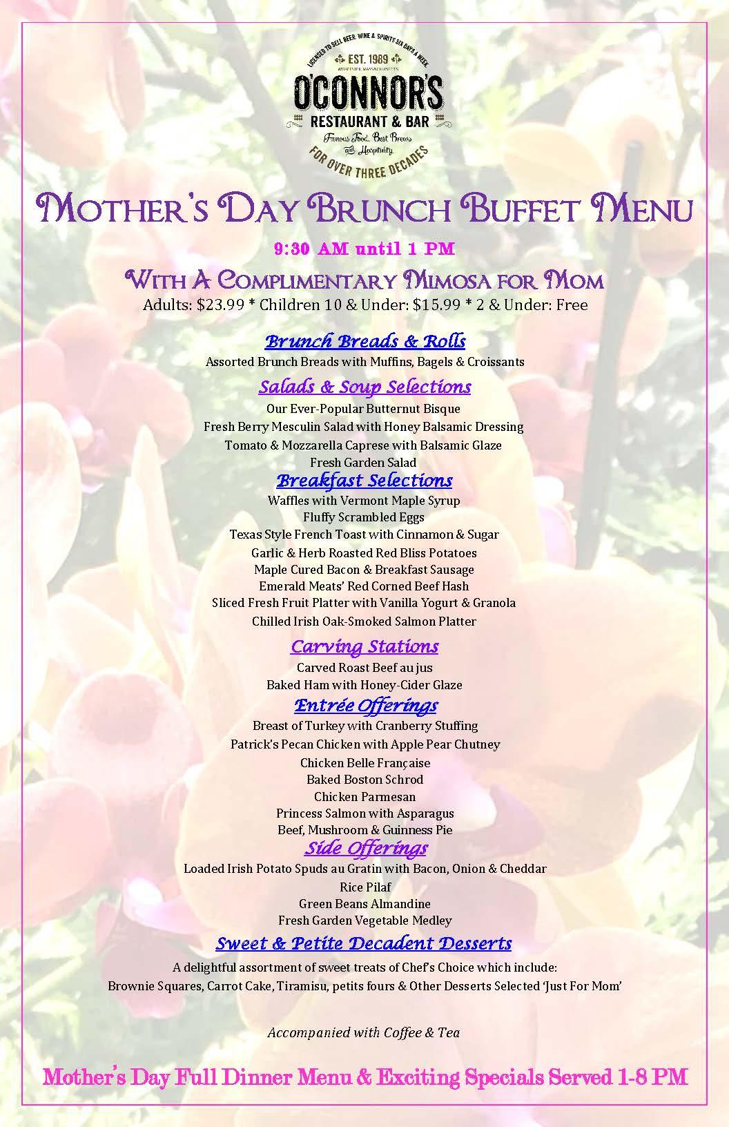 Mother's Day Brunch Menu 2019