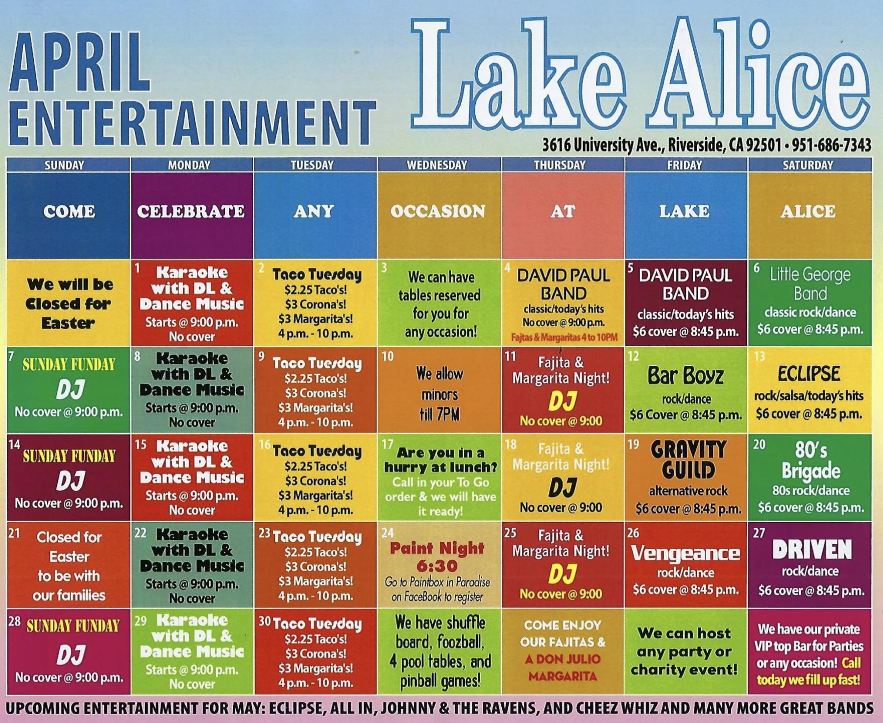 April Calendar - please call (951) 686-7343 for details