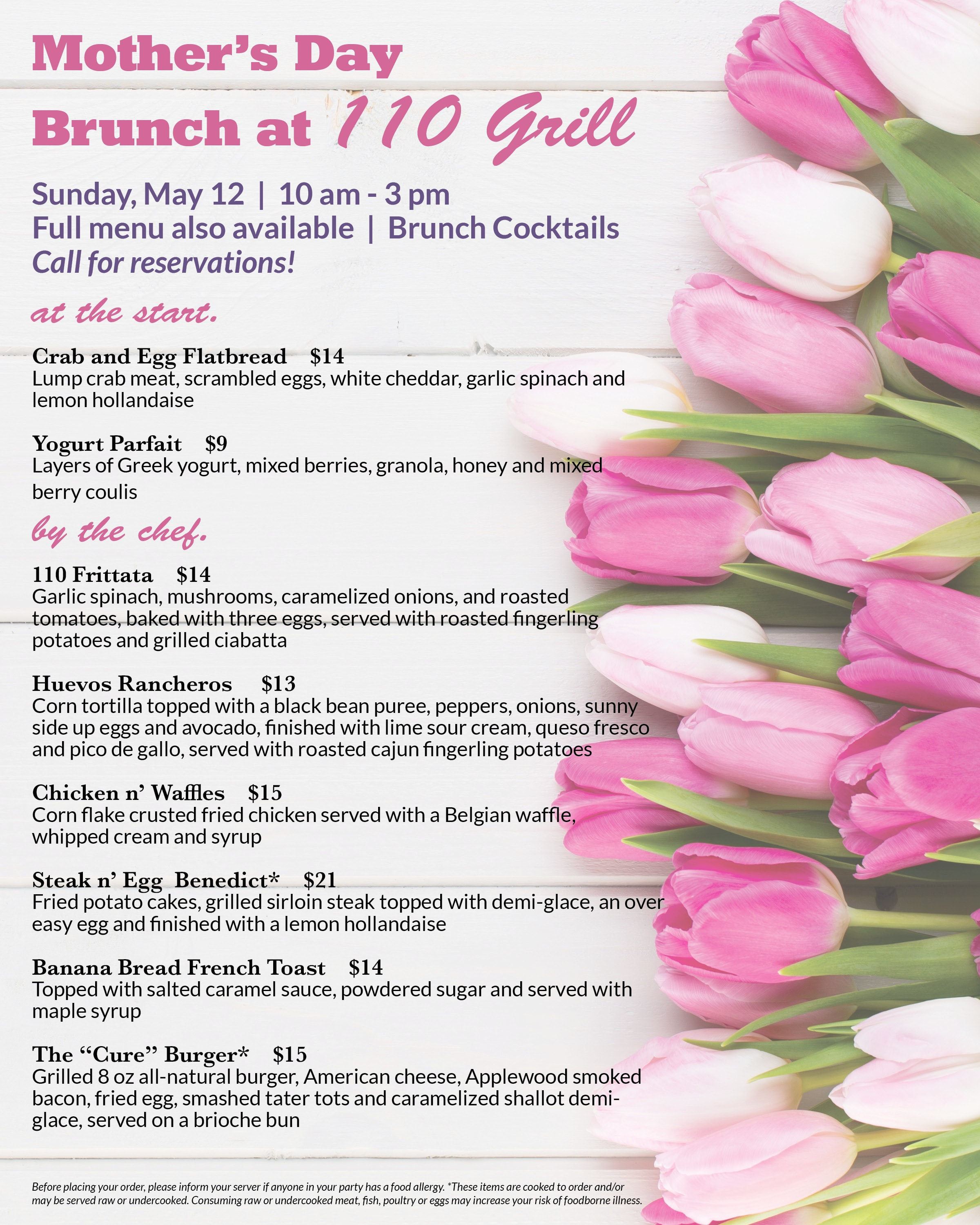 110 Grill Mother's Day Brunch Specials