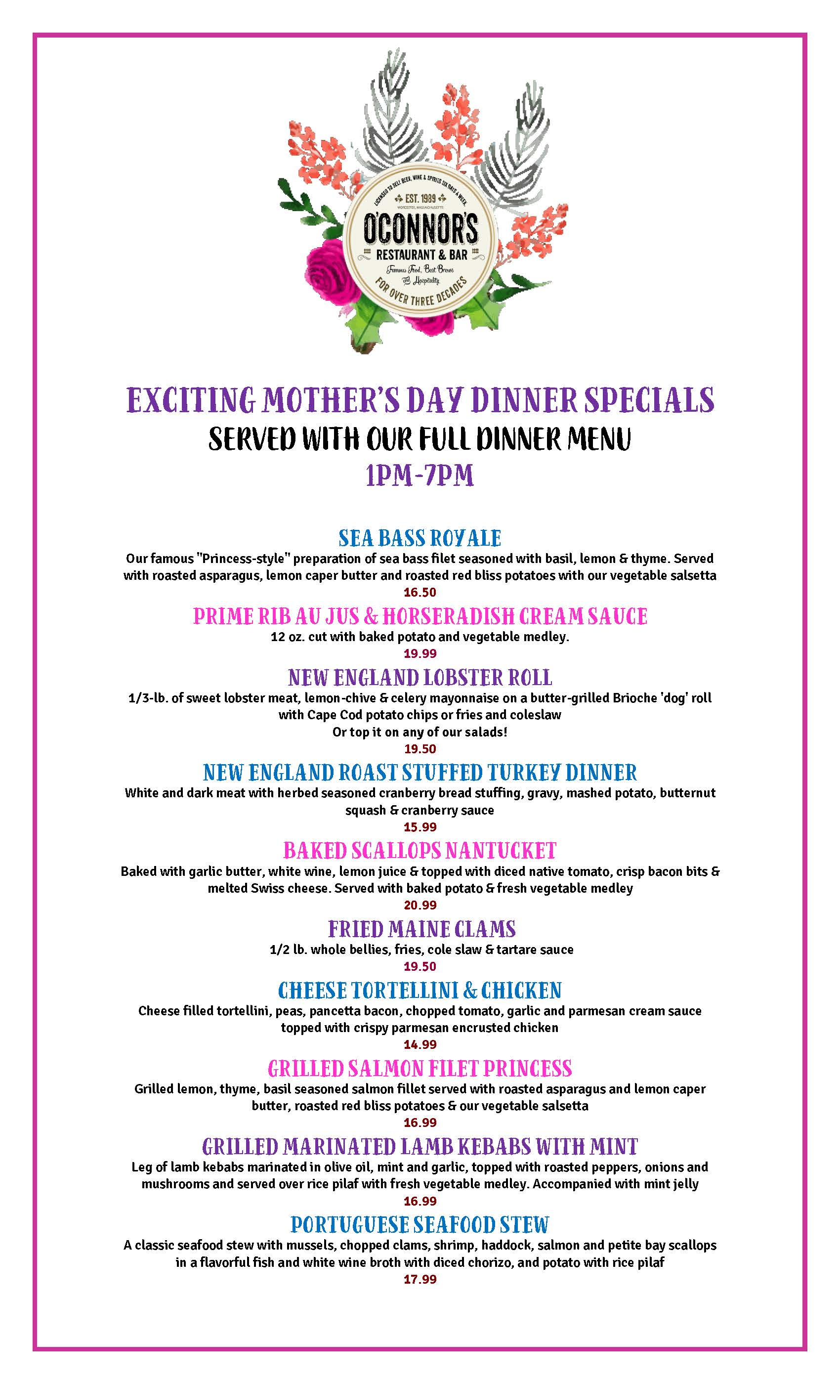 Mother's Day 2019 Dinner Specials