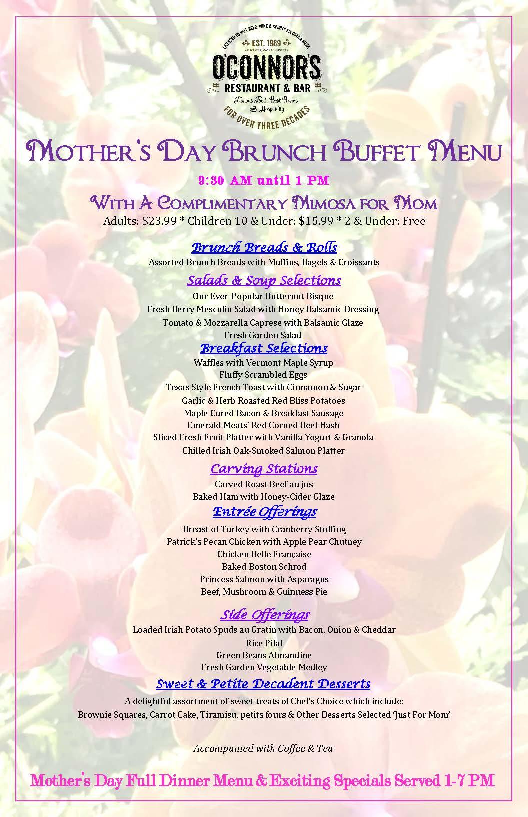Mother's Day 2019 Brunch Menu