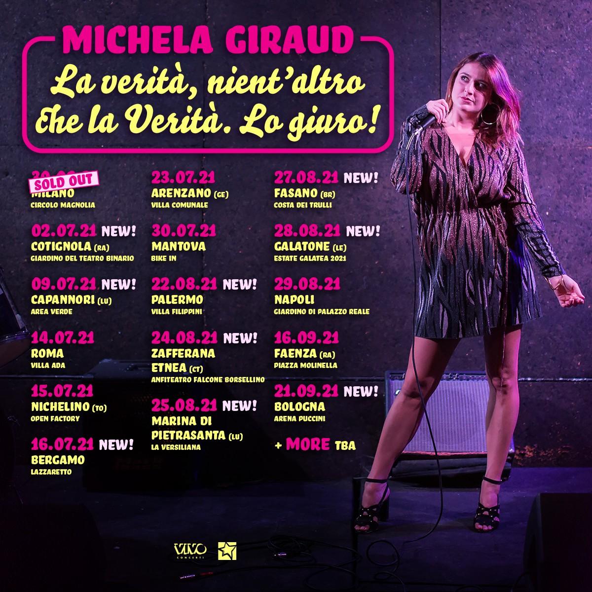 MICHELA GIRAUD: SI AGGIUNGONO NUOVE DATE ESTIVE
