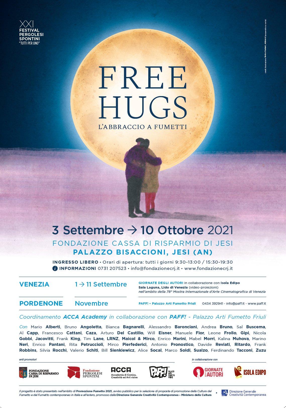 FREE HUGS - mostra sugli abbracci raccontati attraverso i fumetti. Dal 3 al 10 Ottobre 2021
