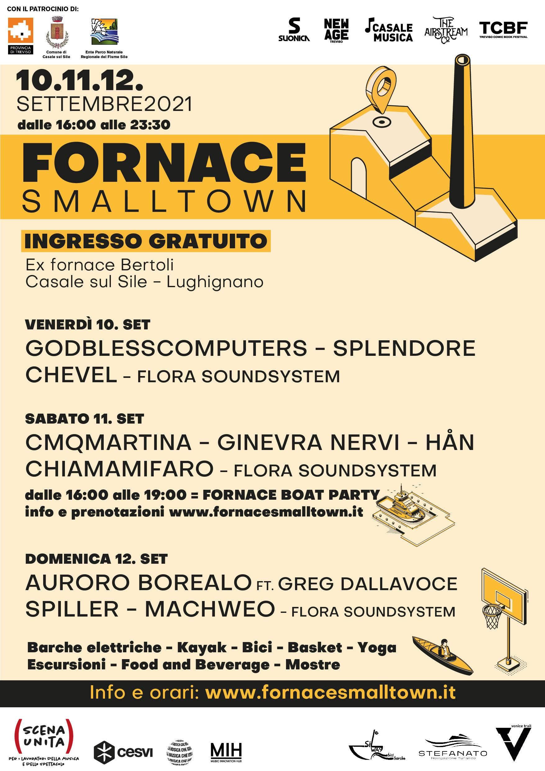 FORNACE SMALLTOWN: LA PRIMA EDIZIONE DEL FESTIVAL 10/12 SETTEMBRE, Casale sul Sile (TV)