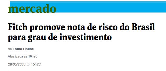 Nota emitida pela Folha Online, sobre o grau de investimento da Fitch Rating.