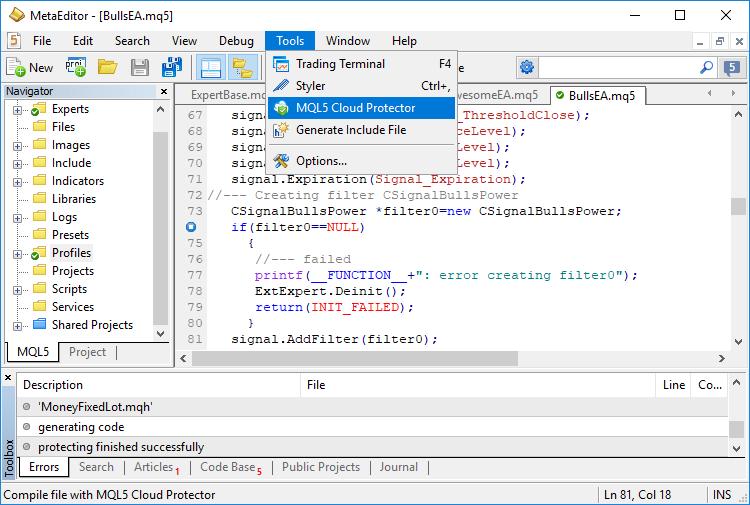 Exemplo de tela de desenvolvimento com MQL5